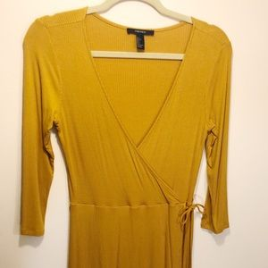Yellow Mustard Deep V Neck Dress Size L Forever 21